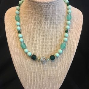 Green Murano glass beaded necklace.